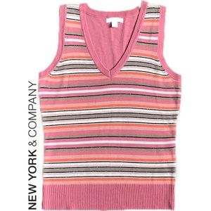 New York and Company Striped Sweater Vest Top